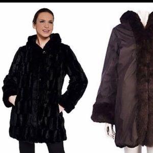 Black Faux Fur Reversible Coat